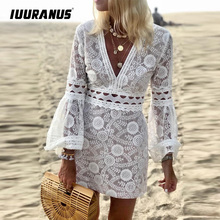 IUURANUS Women Hollow Out Bell Sleeve Lace Dress Sexy V Neck Hollow Out Bodycon Dress Elegant White Party Dress Chis Streetwear