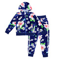 Novo inverno 2017 Crianças conjuntos de roupas para crianças menina manga longa camisola com capuz casacos + calças compridas roupas Florais ternos