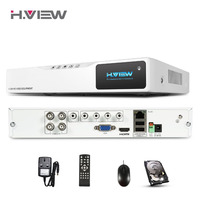 H.VIEW 4CH 720P AHD Security DVR For CCTV System Output Record 1MP IP CAM Surveillance Video Recorder With 1TB Hard Disk