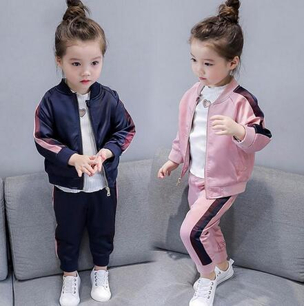 2-8 Year Baby Girls Sport Suits 2019 Spring Children Long Sleeve Zipper Coat+ Pant Casual Girls Clothing Set Kids Tracksuit