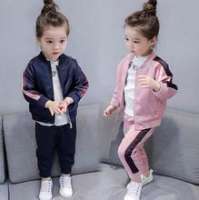2-8 Year Baby Girls Sport Suits 2019 Spring Children Long Sleeve Zipper Coat+ Pant Casual Girls Clothing Set Kids Tracksuit недорого