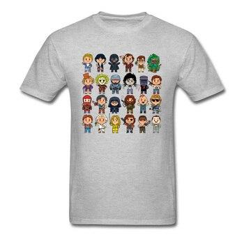 Camiseta clásica de Little Cult, camisetas negras para hombre, camisetas de dibujos animados de Chibi, ropa de Fitness con personajes de película de los 80s