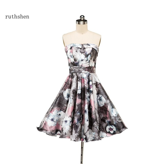 ruthshen 2018 Short Prom Dresses Cheap Strapless Floral Print Formal  Cocktail Party Dress Real Photo Robe e62f1469a672