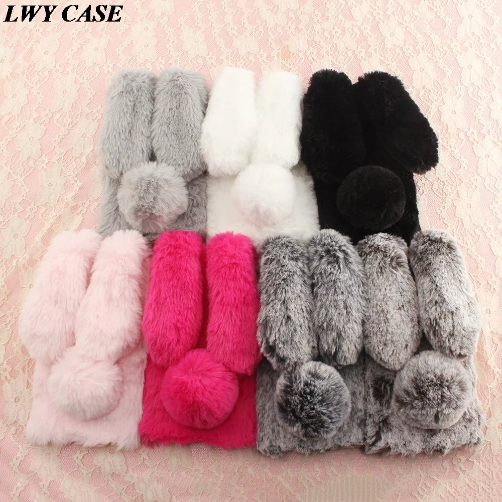For Samsung Galaxy J5 Prime/J7 Prime/On5 On7 2016 Luxury 3D Cute Bunny Rabbit Warm Fur Case Soft TPU Phone Cover