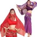 Танец живота индийского танца одно плечо платье практика служба костюм указан bellydance 5 шт. топ и юбка и пояс и повязка на голову и завеса 6 цвета