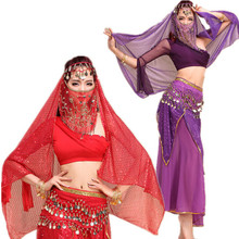 Belly dance indian dance one shoulder dress practice service costume set bellydance 5pcs Top&Skirt&Belt&Headband&Veil 6 colors