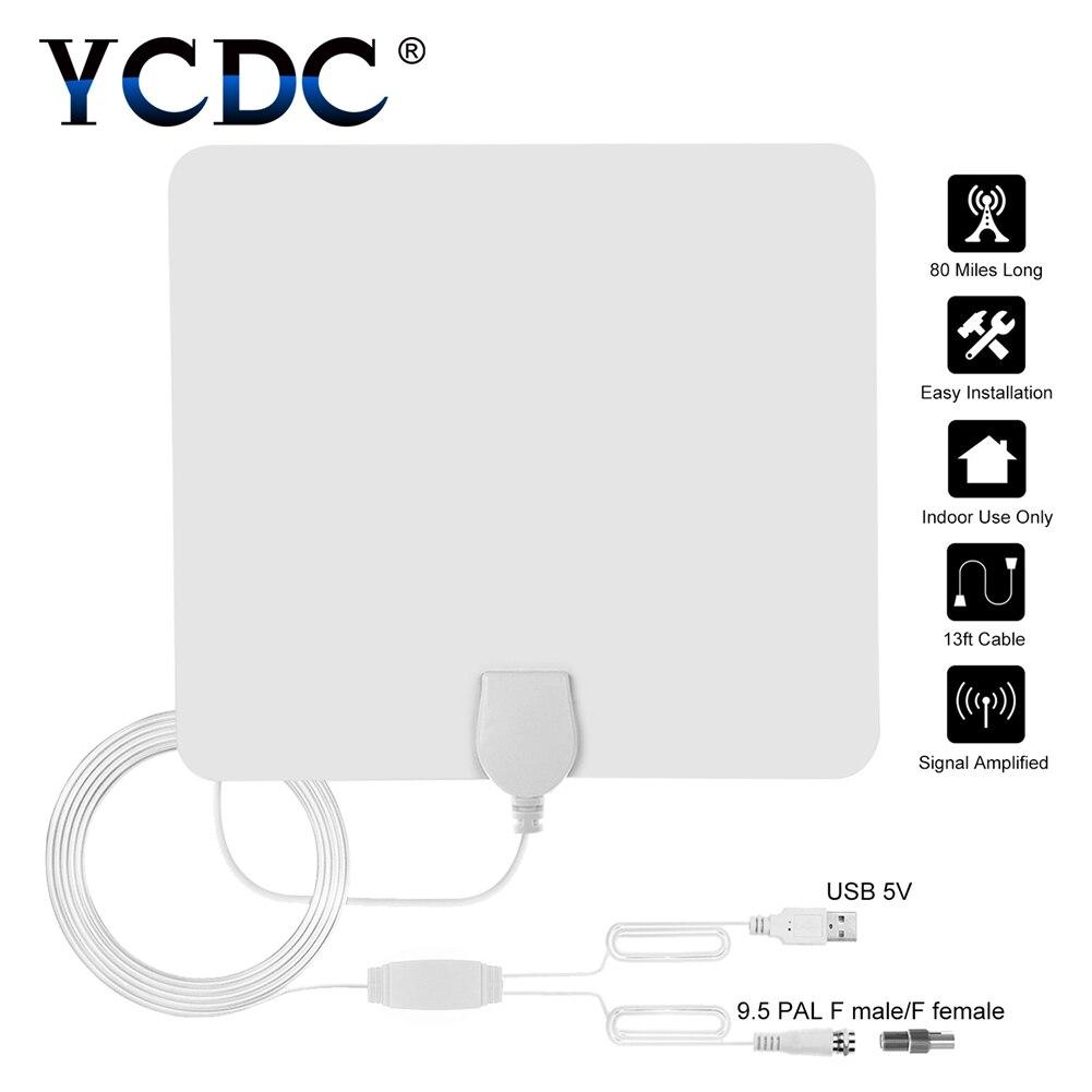 Bianco 80 Miglia Promozione Digital Indoor Antenna TV HD Appartamento di Design High Gain HD TV DTV Box 470-860 mhz Commercio All'ingrosso di Trasporto di Goccia