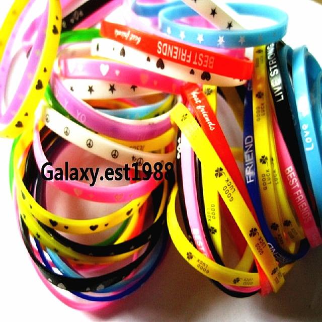 100pcs silicone wristbands bracelet colorful rubber girls boys kids unisex bands sport bangle mixed design Wholesale lots bulk