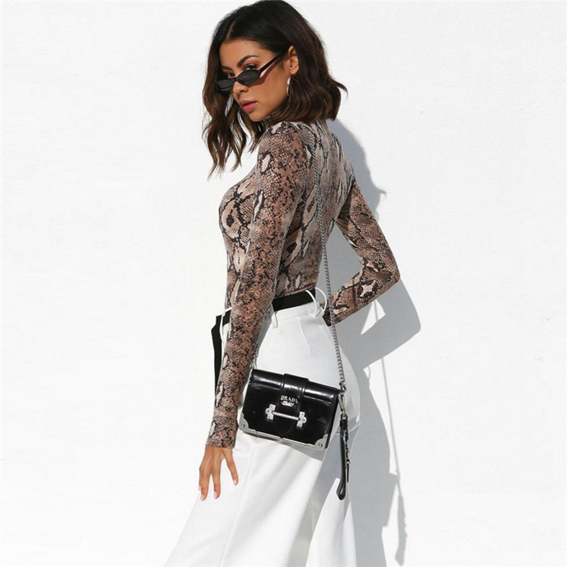 Sexy snake pattern bodysuit female autumn V neck long sleeved triangle jumpsuit women jumpsuit perspective Bodycon Playsuit in Rompers from Women 39 s Clothing