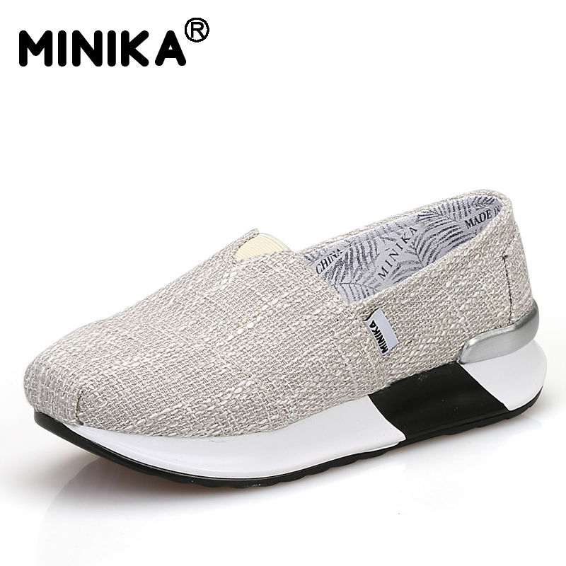 Minika Casual Women Canvas Flats Shoes Woman Ladies Spring Slip-On Breathable Comfortable Lightweight Walking Shoes Chaussure free shipping 2018 women canvas shoes flats ladies platform shoes woman slip on sneakers leisure breathable female 16 color