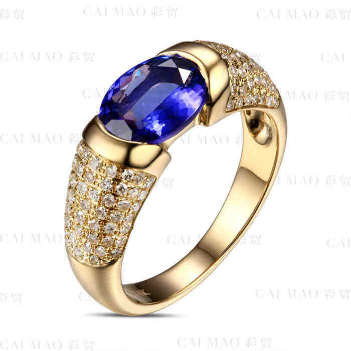CaiMao 14KT/585 Yellow Gold 1.58 ct Natural IF Blue Tanzanite AAA 0.45 ct Full Cut Diamond Engagement Gemstone Ring Jewelry