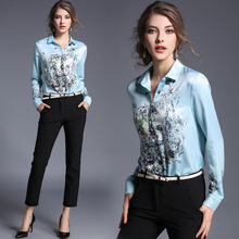High Quality Women Floral Print Polo Blouse Cardigan Tops Blouse Female 2017 Summer OL Women's CHIFFON Silk Blouse Shirts JA2495