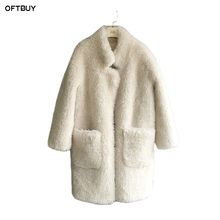 OFTBUY 2018 Winter Jacket Women Long Real Fur Coat Parka White Natural Wool Luxury
