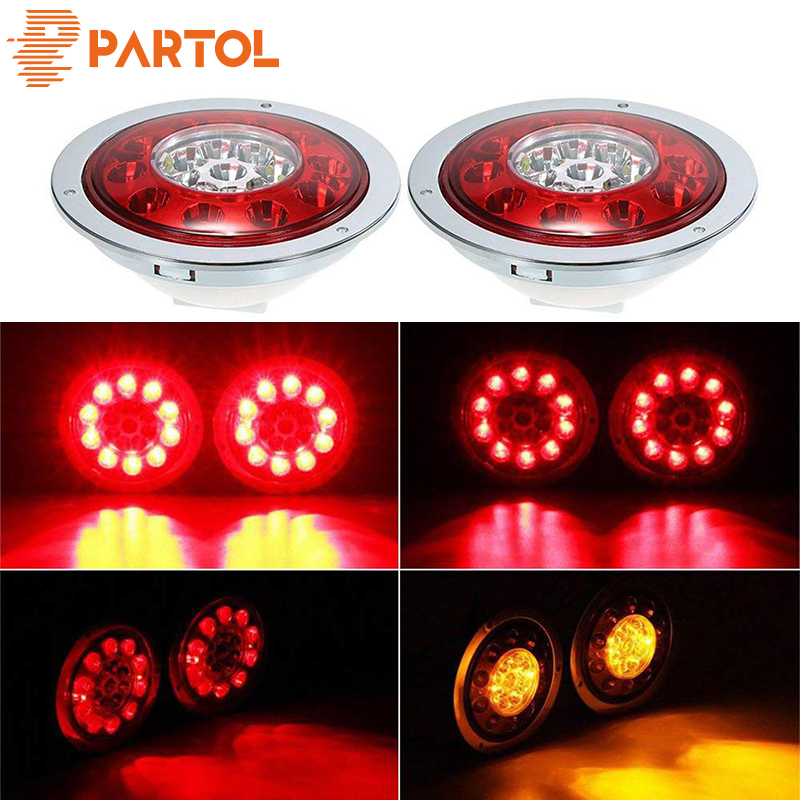 Partol 4.3'' Round LED Truck Trailer Lorry Brake Stop Turn Tail Light Side Marker For Car Trucks Vehicles 12V 24V Chrome Ring image