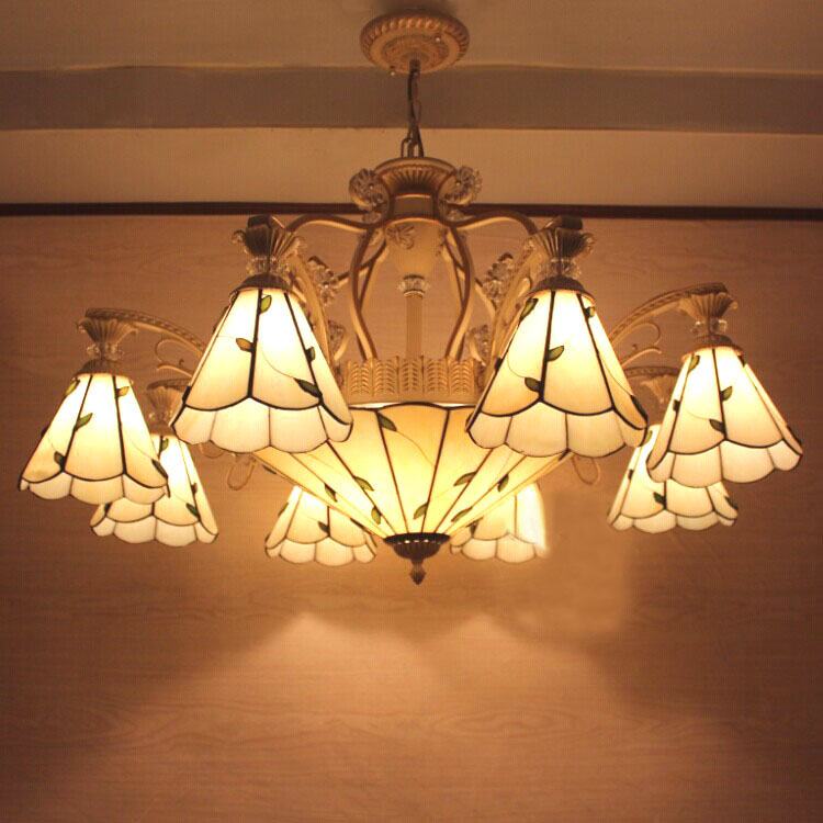 European Vintage Glass Large Pendant Light Artistic Tiffany Bar Cafe Lamp Dining Room Pendant Light Di150cm 23 Lights loft vintage edison glass light ceiling lamp cafe dining bar club aisle t300