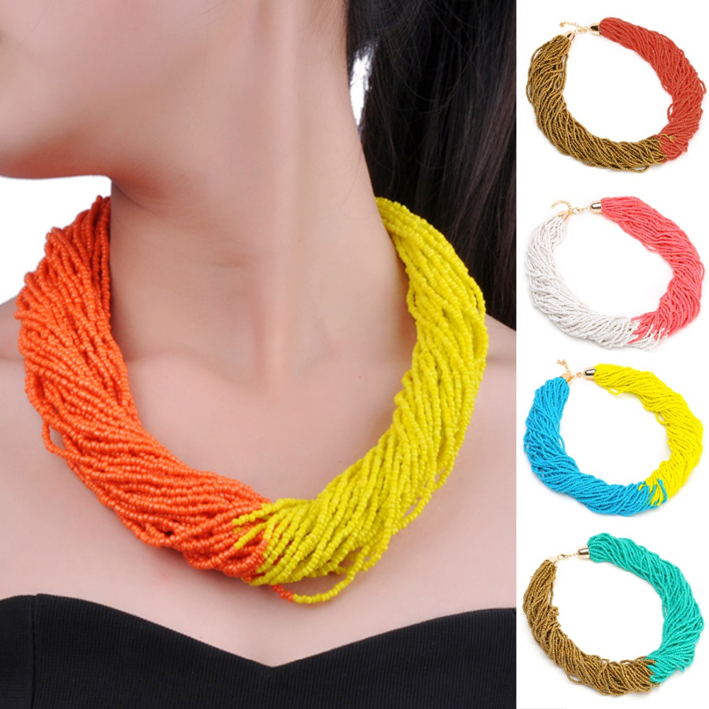 Holidays Party Casual Gift Free Shipping Twist 10 Mix 2 Colors 40 Layers Chain Style Handmade Beads Bib Pendant Necklace