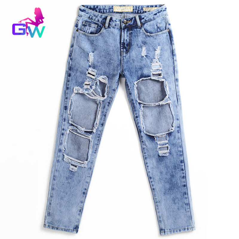 Aliexpress.com : Buy Ladies Big Ripped Jeans 2015 Washed Out