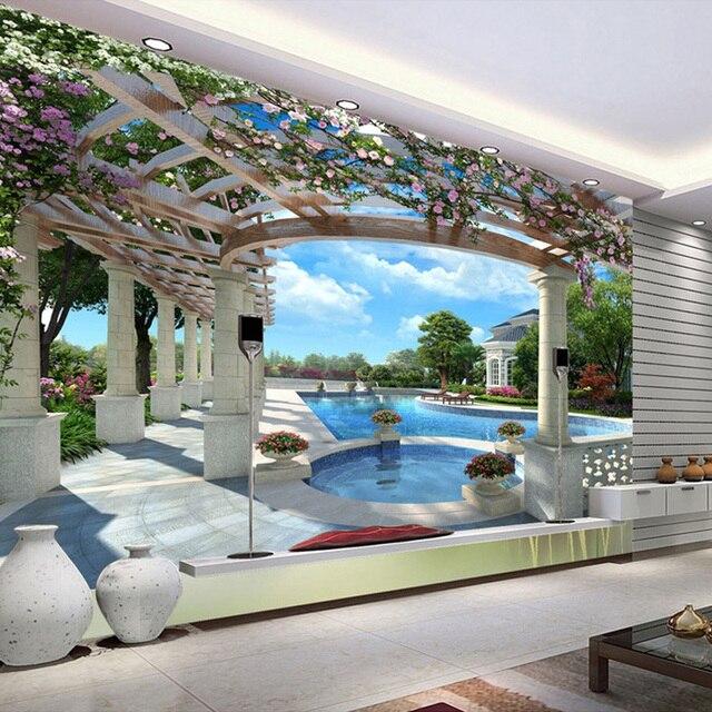 Benutzerdefinierte Moderne Luxus Wandbild Tapete Villa Schwimmen Pool  Garten Wandbild Foto Tapete Für Wände Papel De