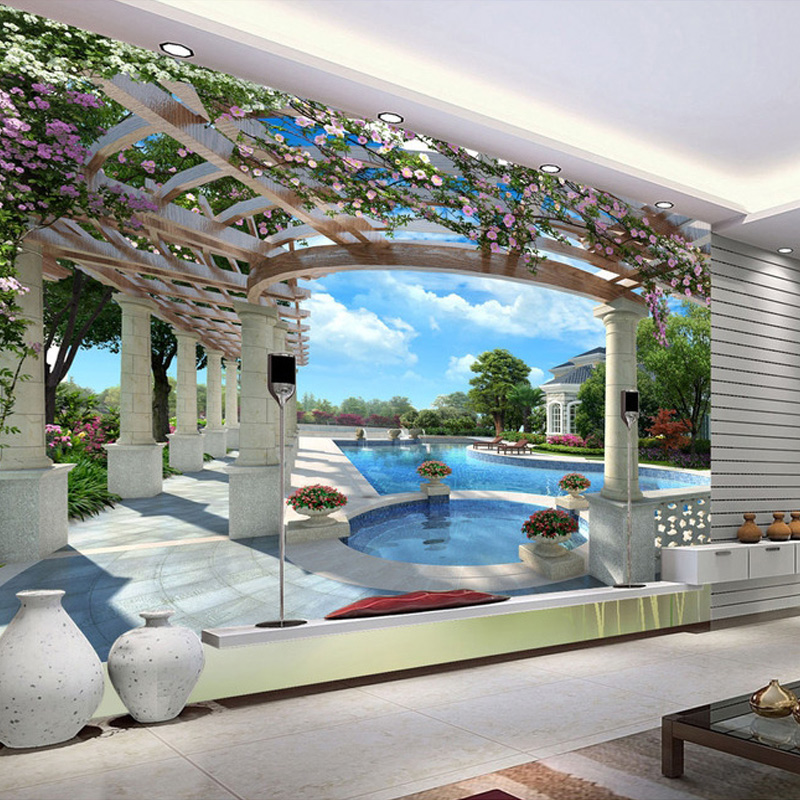 Custom Modern Luxury Mural Wallpaper Villa Swimming Pool Garden Wall Mural Photo Wallpaper For