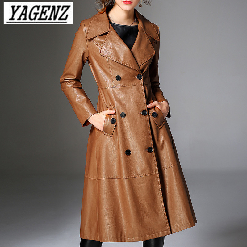 Double-breasted Women Pu   leather   Windbreaker Coat Autumn Winter Slim Temperament Long Coats High-end Female Faux   Leather   Jacket