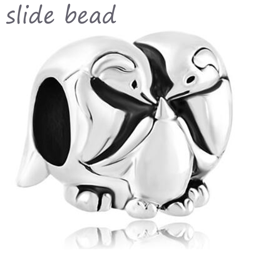 91df154d5 Slide bead Fit Pandora charm bracelets Silver Mother Daughter Penguin  Family Love Lucky Charm Bracelet beads for jewelry making