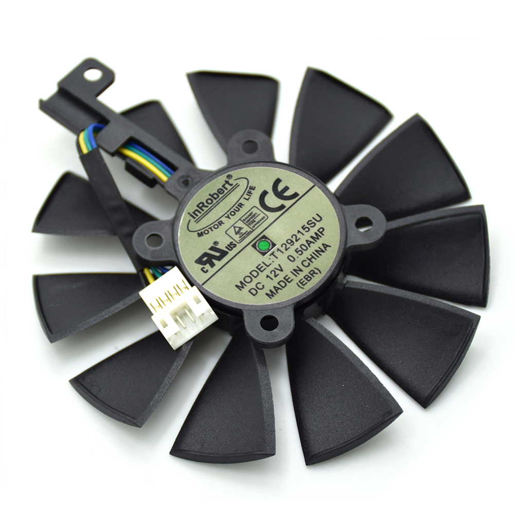 T129215SU 87MM 4Pin Cooler Fan For ASUS R9 390 390X RX580 GTX 980Ti 960G 970 1060 GTX1070 1080TI Graphics Card Cooling Fans New new everflow cooler fan replacement for asus strix rx470 rx460 gtx980ti r9 390 390x gtx 1070 1080 graphic card cooling fan
