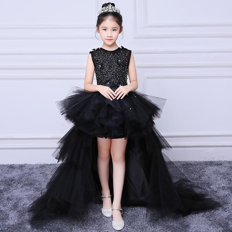 2018 Royal Black Evening Party Gown Children Ball Gown Appliques Flower Girl Dresses Princess Dress Summer Wedding Dress A156 цены онлайн