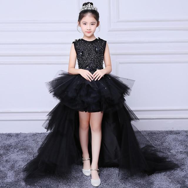 c4e7b359edf 2018 Royal Noir de Soirée Robe Enfants robe de Bal Appliques Fleur Fille  Robes de Princesse