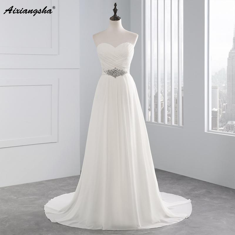 Elegant A-line Beading Chiffon Wedding Dress