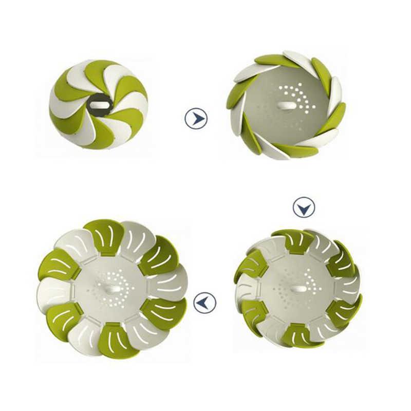 Preto/Verde Cesta De Plástico Forma Lotus Steamer Alça Extensível Vegetal Bandeja do Ovo Fogão Panelas de Cozinha Gadgets