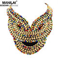 MANILAI Boho Jewelry Fashion Multicolor Candy Beads Collar Necklace Handmade Choker For Women Dress Statement Accessories 2016