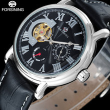 FORSINING fashion brand men mechanical tourbillion watches genuine leather band luxury men s skeleton watches relogio