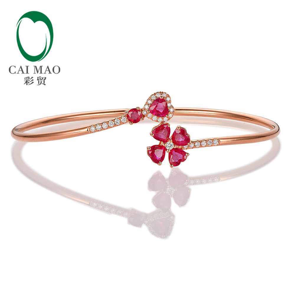 Caimao Jewelry 1.79ct Natural Ruby and 0.19ct Pave Diamond 18K Rose Gold Gemstone Bracelet