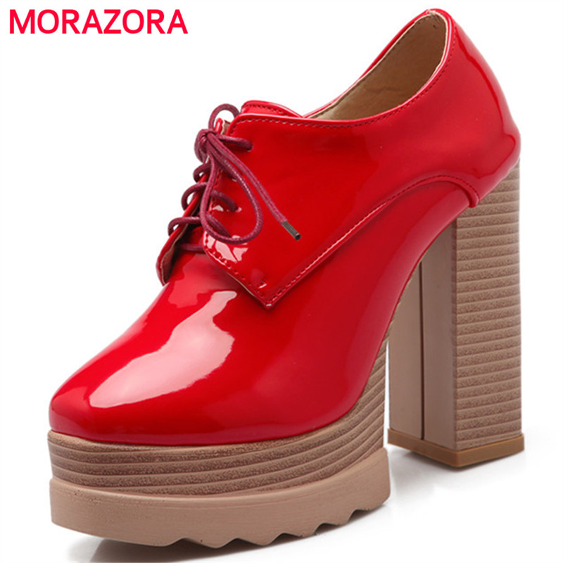 MORAZORA Spuer heels shoes woman fashion elegant party shoes women PU patent leather pumps platform shoes lace-up morazora pu patent leather women shoes pumps fashion contracted high heels shoes shallow big size 34 42 platform shoes party