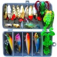 JSFUN 21 unids/set Kit Mixto Minnow señuelo de la Pesca Crankbait Popper Rana cebos de Cuchara en Caja de Los Trastos Peces Conjunto de Señuelo de Pesca FU344