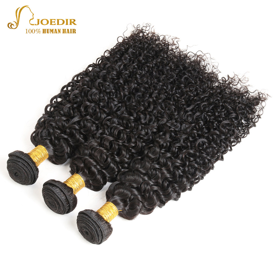 JOEDIR Afro Kinky Curly Hair Indian Hair Weave Bundles 3 Bundles Deal 100% Natural Black Human Hair Weaving Non Remy
