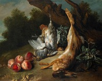 100% handmade oil painting on linen canvas,Dead Game and Peaches by Jean Baptiste Oudry,STILL LIFE oil painting,Museum quaity