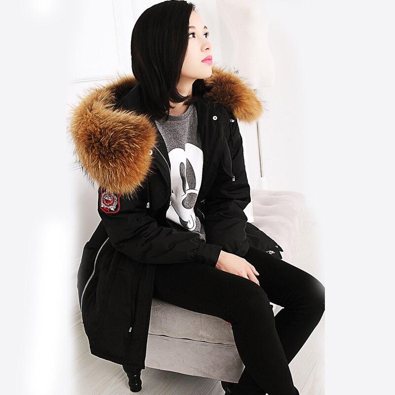 Épaissir Parka De black Vestes Fur Manteaux Véritable Naturel Cm Duvet Canard 20 Veste Et Fur Raton Grand Outwear Fourrure Vert Blanc Laveur Big Armée Femmes Hiver Black 2017 Small FwHqFUPX