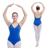 Retail Royal Blue Black And More Colors Cotton Lycra Camisole Leotard With Cross Front For Ladies