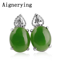 S925 Silver Jewelry inlaid Jade Earing for Women Girl Jewellery Certificate with Gift Box Natural Green Jade Earrings