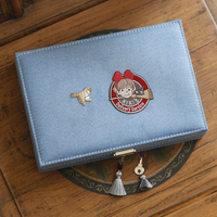Miyazaki Hayao Anime Jewelry Box with Kiki's Delivery Service Logo Embrodiery Display Box Rectangle Women Jewelry Cloth Pack