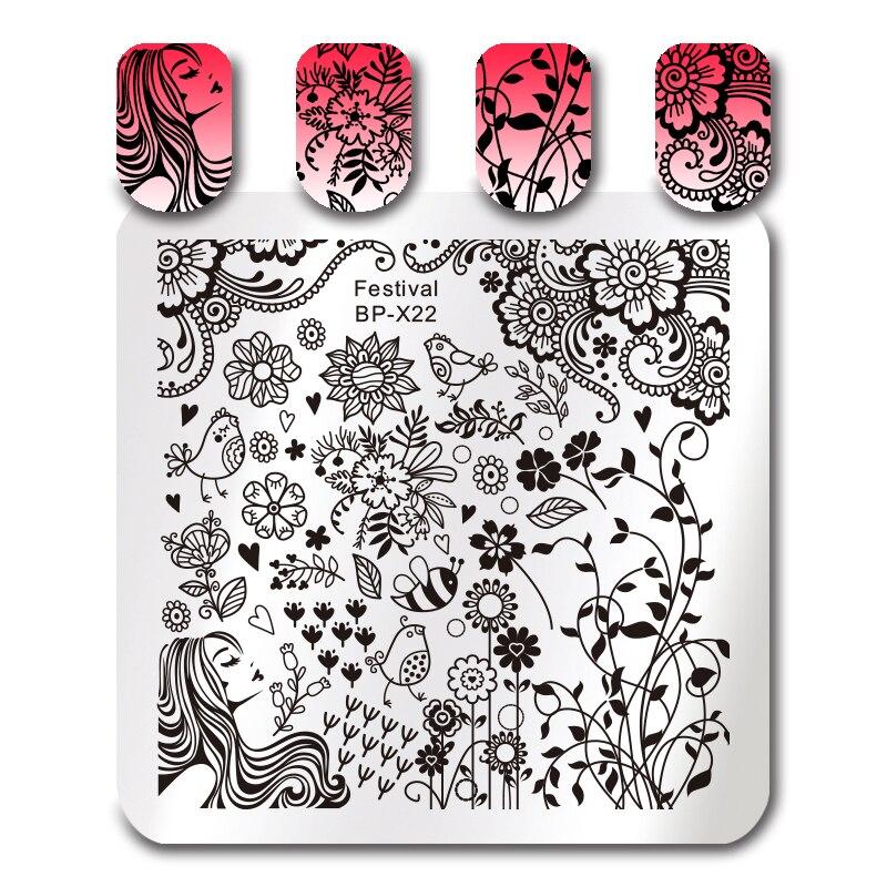 Geometric Reverse Stamping Nail Art Born Pretty Review: BORN PRETTY Flower Bird Nail Art Template Square French