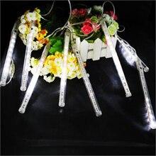 Meteor Shower Romantic Falling Star Rain 20cm 8Tubes 96LED White Xmas Tree Decor Waterproof Durable Light