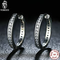 2017 New Trendy 925 Sterling Silver Cubic Zirconia Simple Item Women Hoop Earrings Compatible With VRC Jewelry S456