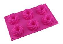 Incluso el 6 de gel de silicona espiral de 6 incluso ronquido Savoy Lin pastel chiffon molde molde de pastel de silicona