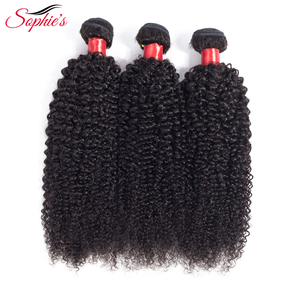 Sophie's Peruvian Hair Bundles Kinky Curly Hair Bundles Remy Human Hair Bundles Can Buy With Closure Double Weft Hair Extension(China)