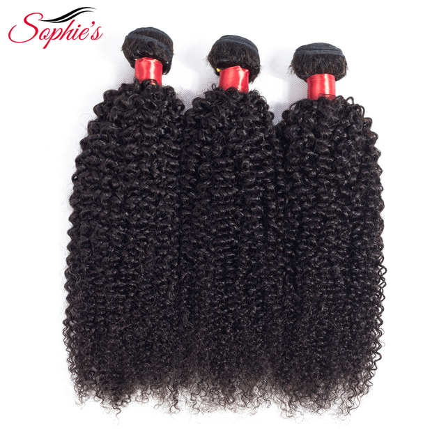 Sophies Peruvian Hair Bundles Kinky Curly Hair Bundles Remy Human Hair Bundles Can Buy With Closure Double Weft Hair Extension