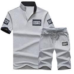 Новый 2018 Двойка летний комплект Для мужчин короткий рукав футболка + шорты Для мужчин \ костюмы Повседневная Спортивная топы короткие брюки