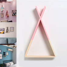 New Creative Triangle Wall Frame House Shelf Display Rack Decorate Living Room Bedroom Children Room Crafts Storage Rack(China)