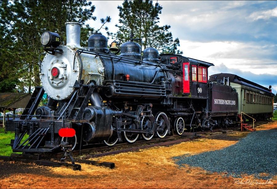 Laeacco Old Stream Train Cloudy Child Portrait Fondos fotográficos - Cámara y foto